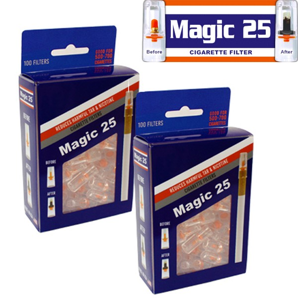 2 of Magic 25 Disposable Cigarette Filters Value Pack (100 Filters)