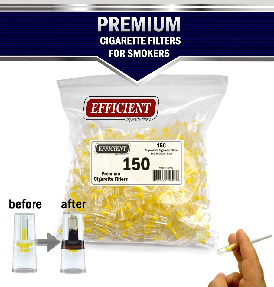 Efficient Disposable Cigarette Filters -  Bulk Economy Pack (900 filters) with Free 150 Filter Tips