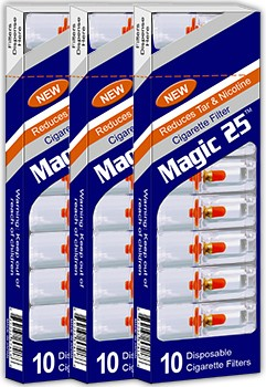 Magic 25 Disposable Cigarette Filters 3 Packs (10 Filters Per Pack)